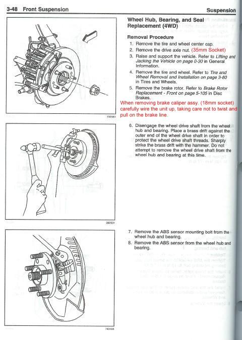 2003 trailblazer wheel hub bearing info